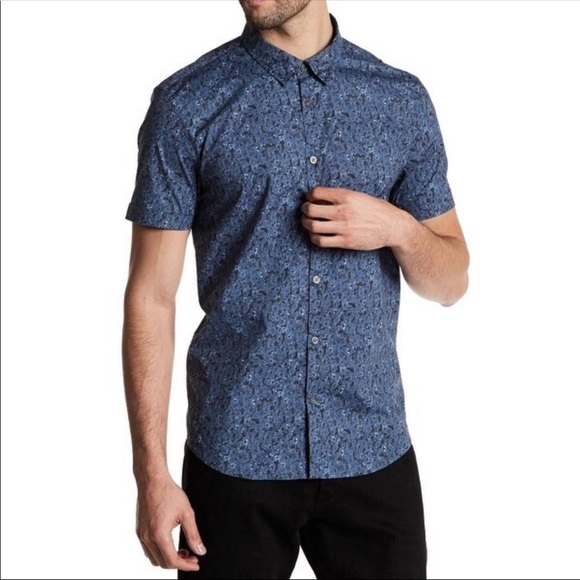 NWT John Varvatos Mens Medium Short Sleeve Button-Front Blue Floral Shirt New